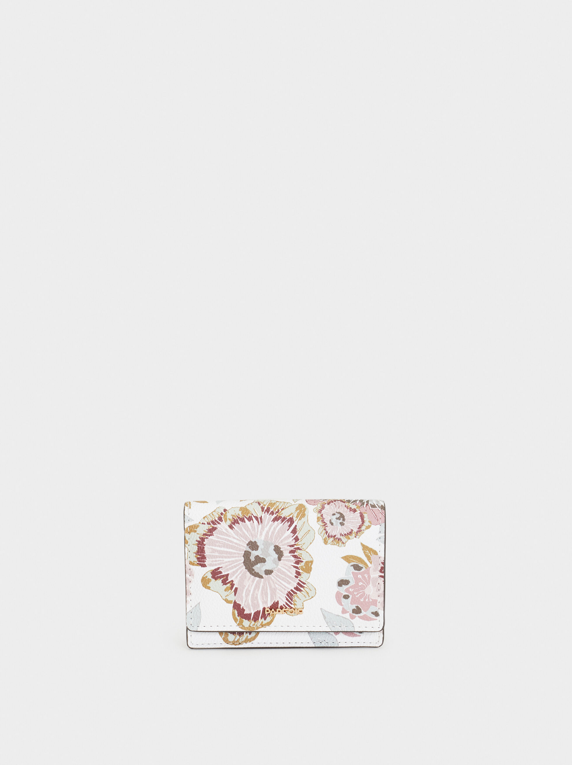 Floral Print Card Holder, Ecru, hi-res