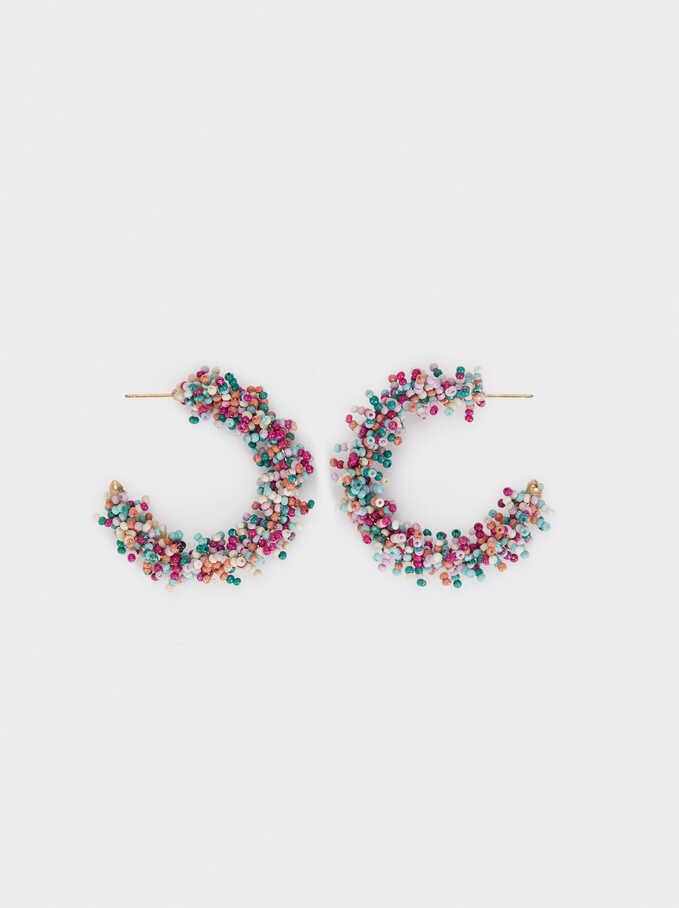 Sea Breeze Medium Hoop Earrings With Beads, Multicolor, hi-res