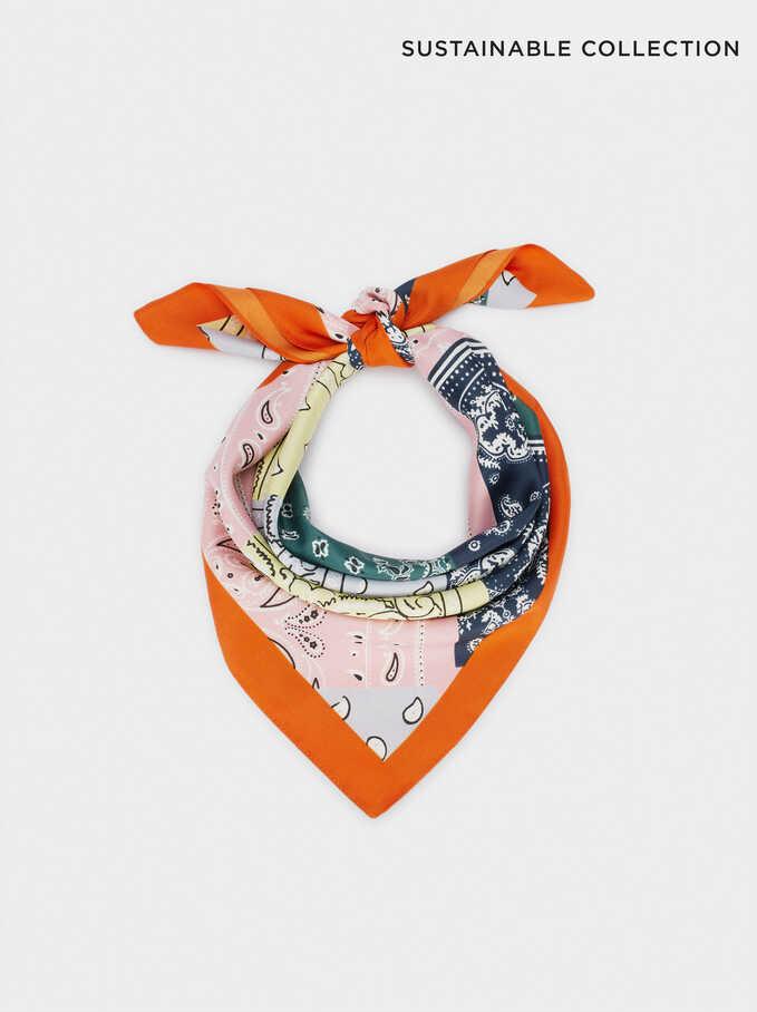 Foulard Carré Imprimé Confectionné À Partir De Matières Recyclées, Multicolore, hi-res