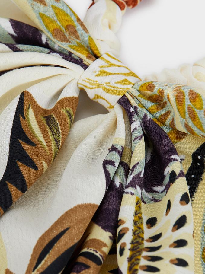 Multi-Coloured Print Scrunchie, Multicolor, hi-res