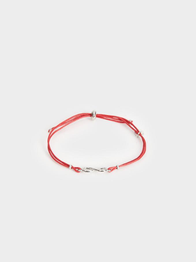 Adjustable Bracelet With Infinity Sign, Red, hi-res