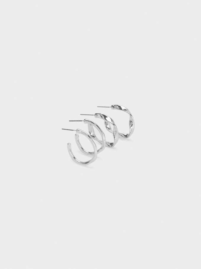 Basic Hoop Earring Set, Silver, hi-res