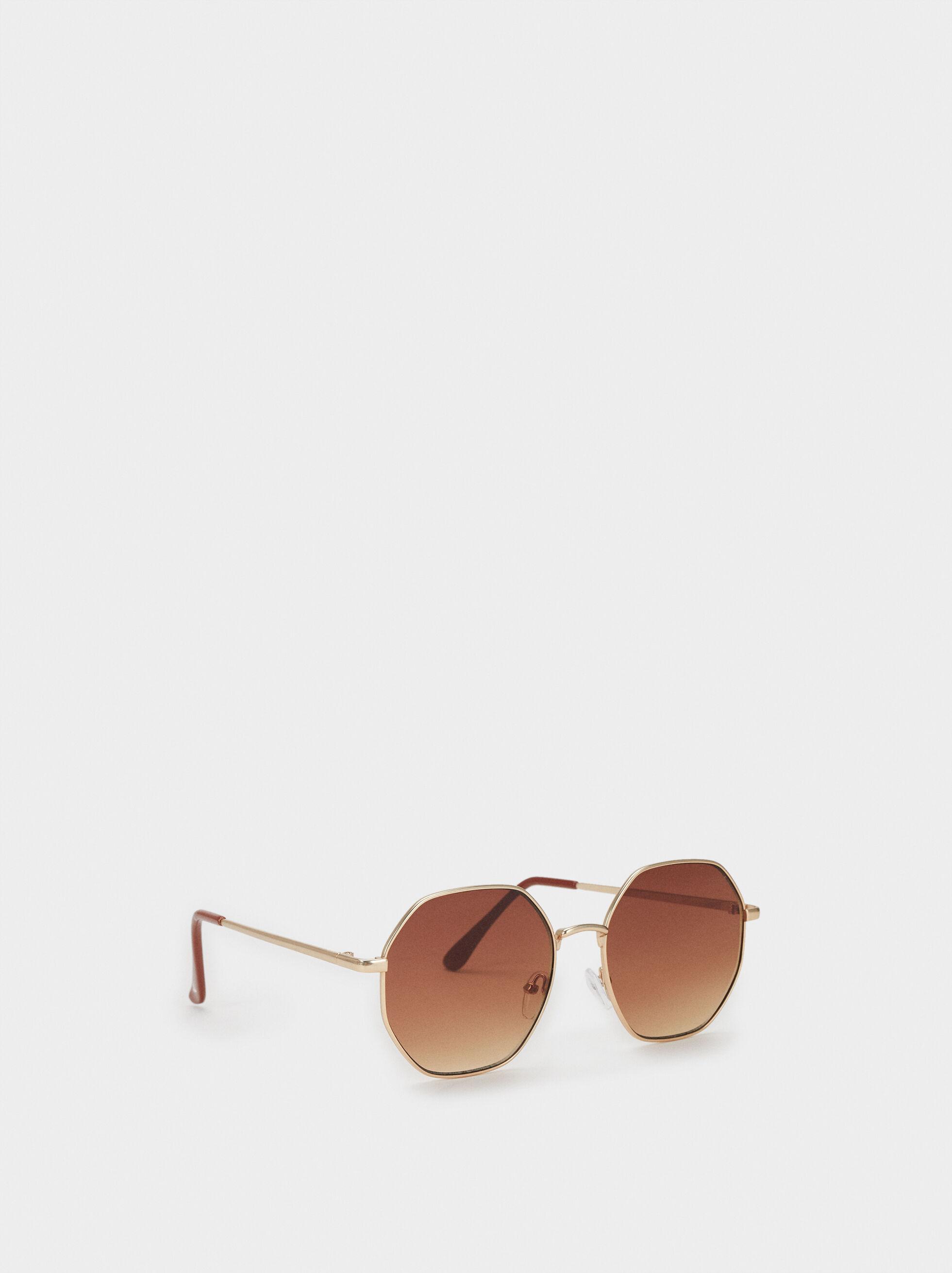 Round Metal Sunglasses, Golden, hi-res