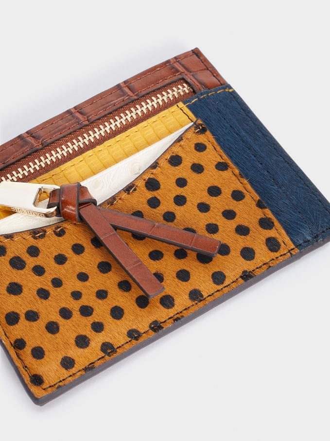 Patchwork Design Card Holder With Purse, Blue, hi-res
