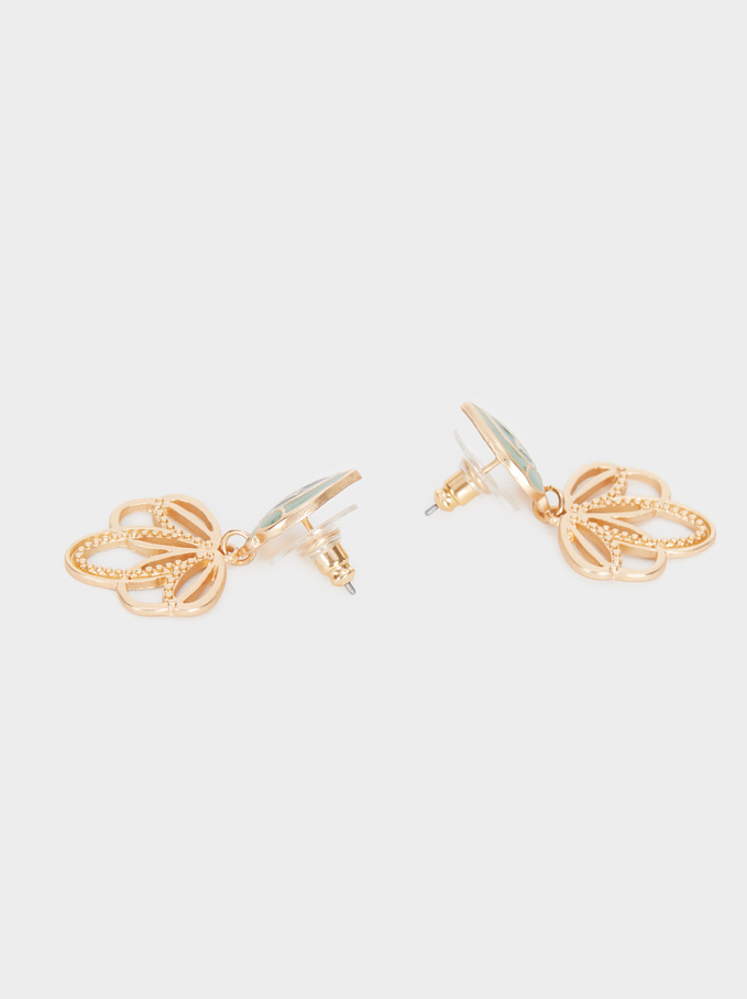 Small Gold Earrings With Flowers, Multicolor, hi-res