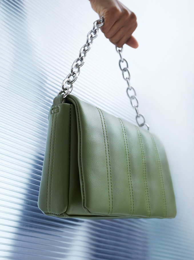Quilted Handbag With Chain Handle, Green, hi-res