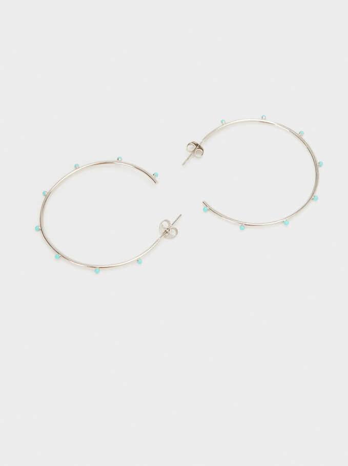 925 Silver Hoop Earrings, Blue, hi-res