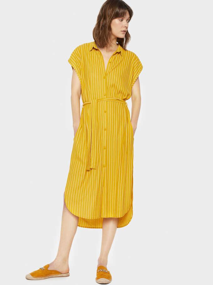 Striped Shirt Dress, Yellow, hi-res