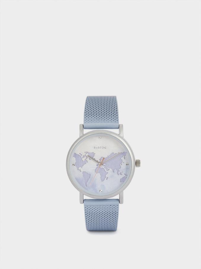 Orologio Con Cinturino In Acciaio E Quadrante Con Mappamondo, Blu, hi-res