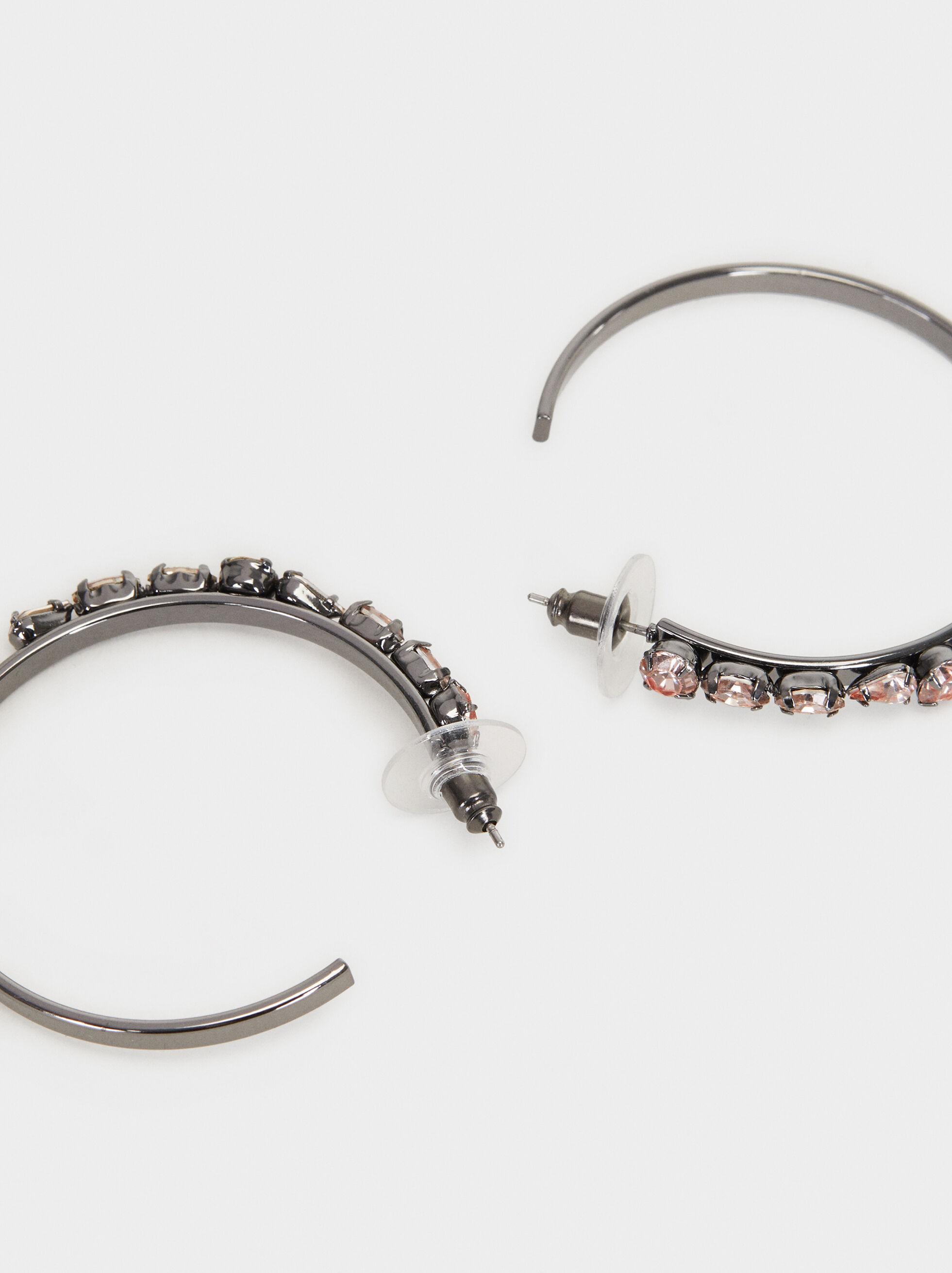 Cosmic Pink Long Hoop Earrings , Multicolor, hi-res