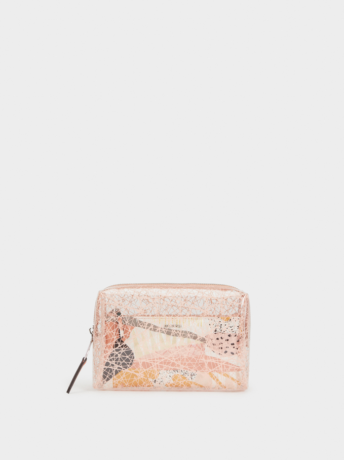 Vinyl Toiletry Bag, Pink, hi-res