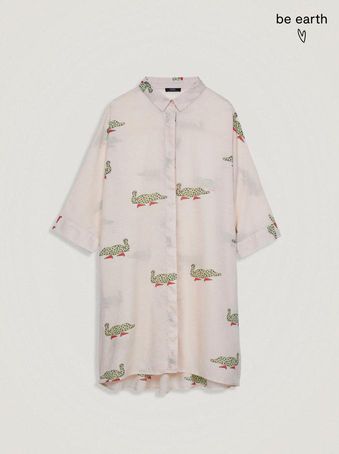 100% Lyocell Printed Shirt Dress, Beige, hi-res