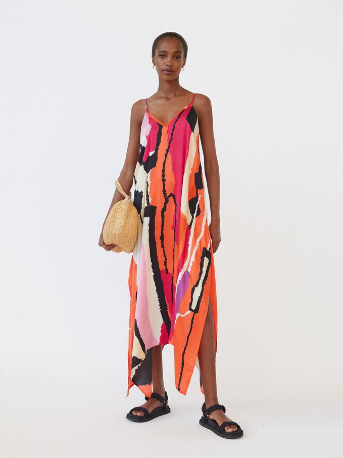 Wzorzysta Sukienka Na Ramiaczkach, Pomaranczowy, hi-res