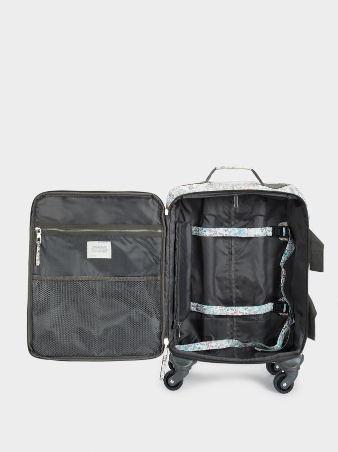 Print Nylon Suitcase, White, hi-res