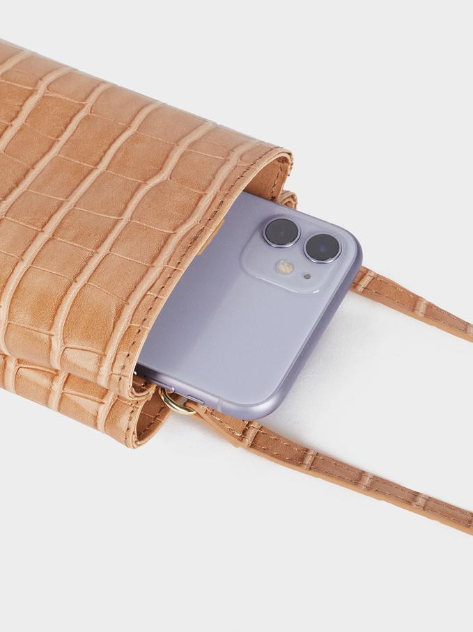 Embossed Mobile Phone Bag With Shoulder Strap, Beige, hi-res