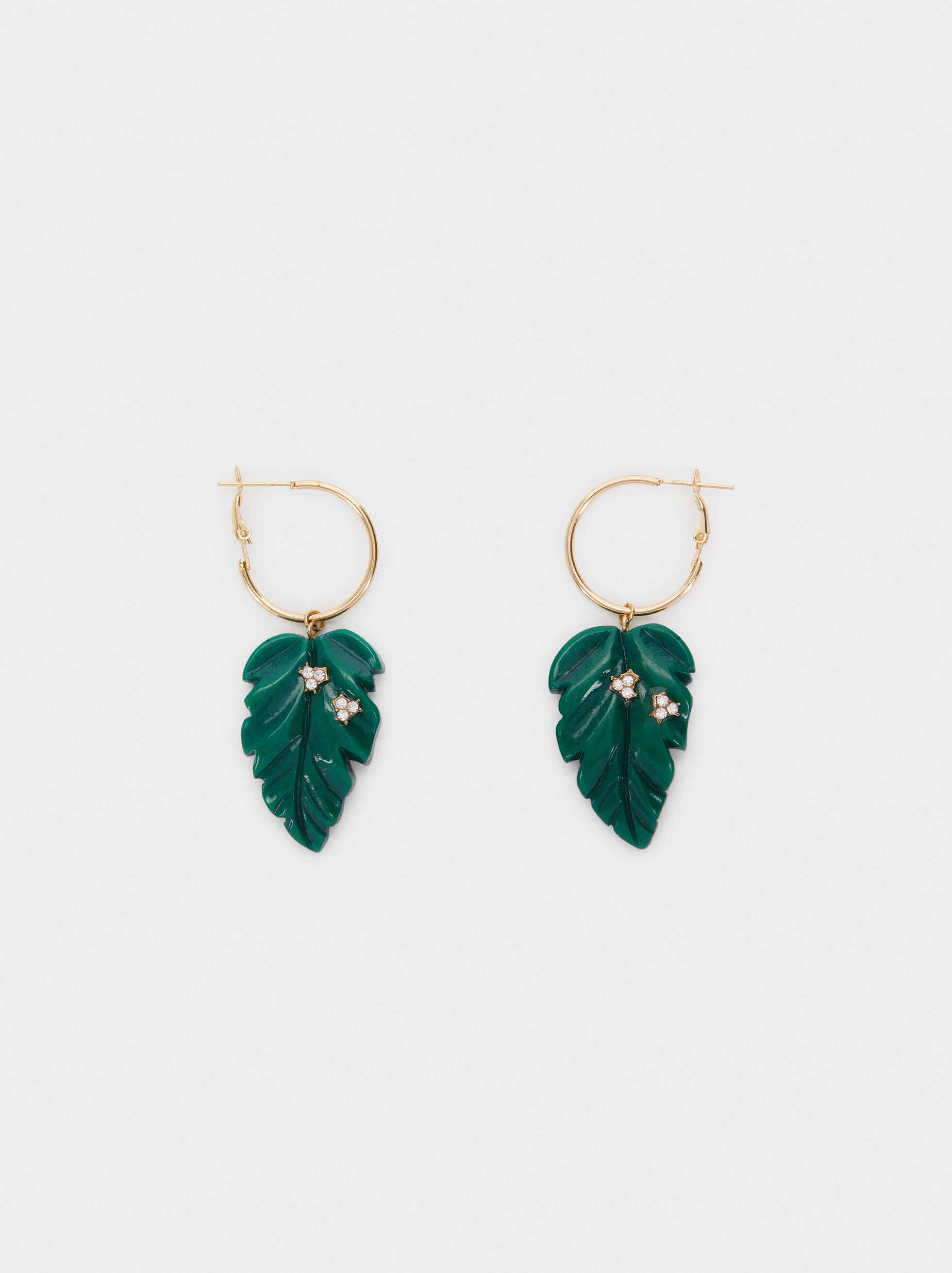 Tropicalia Large Hoop Earrings With Leaves, , hi-res