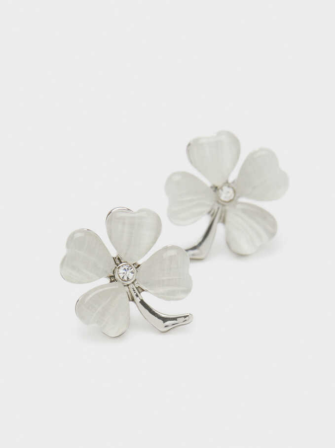 Small Silver Earrings With Clover And Crystals, Silver, hi-res