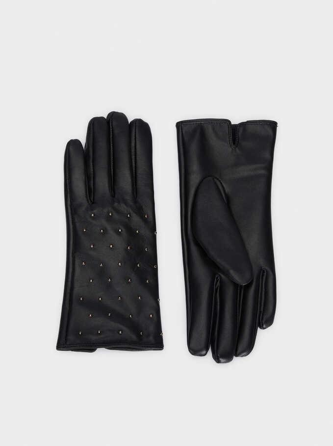 Leather Gloves With Stud Details, Black, hi-res