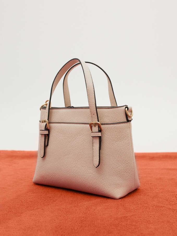 Embossed Tote Bag With Shoulder Strap, Ecru, hi-res