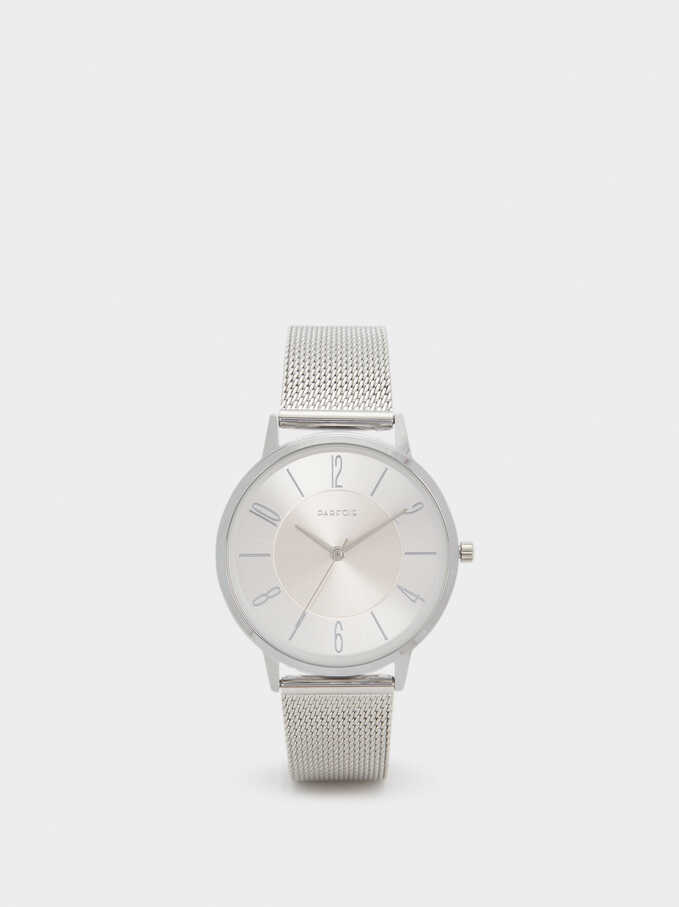 Reloj Correo De Malla Metálica, Plateado, hi-res