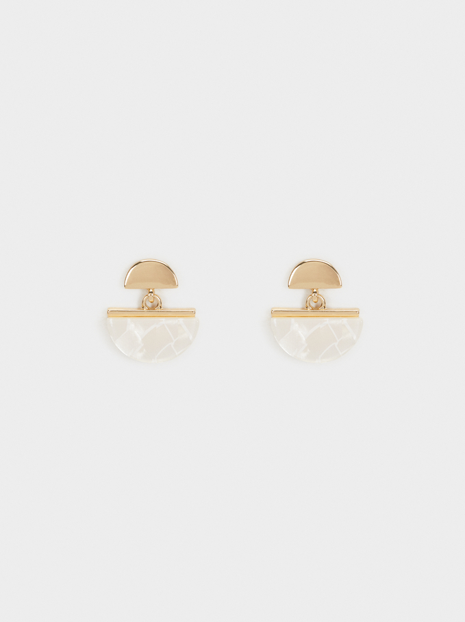 Creme Short Earrings, Yellow, hi-res