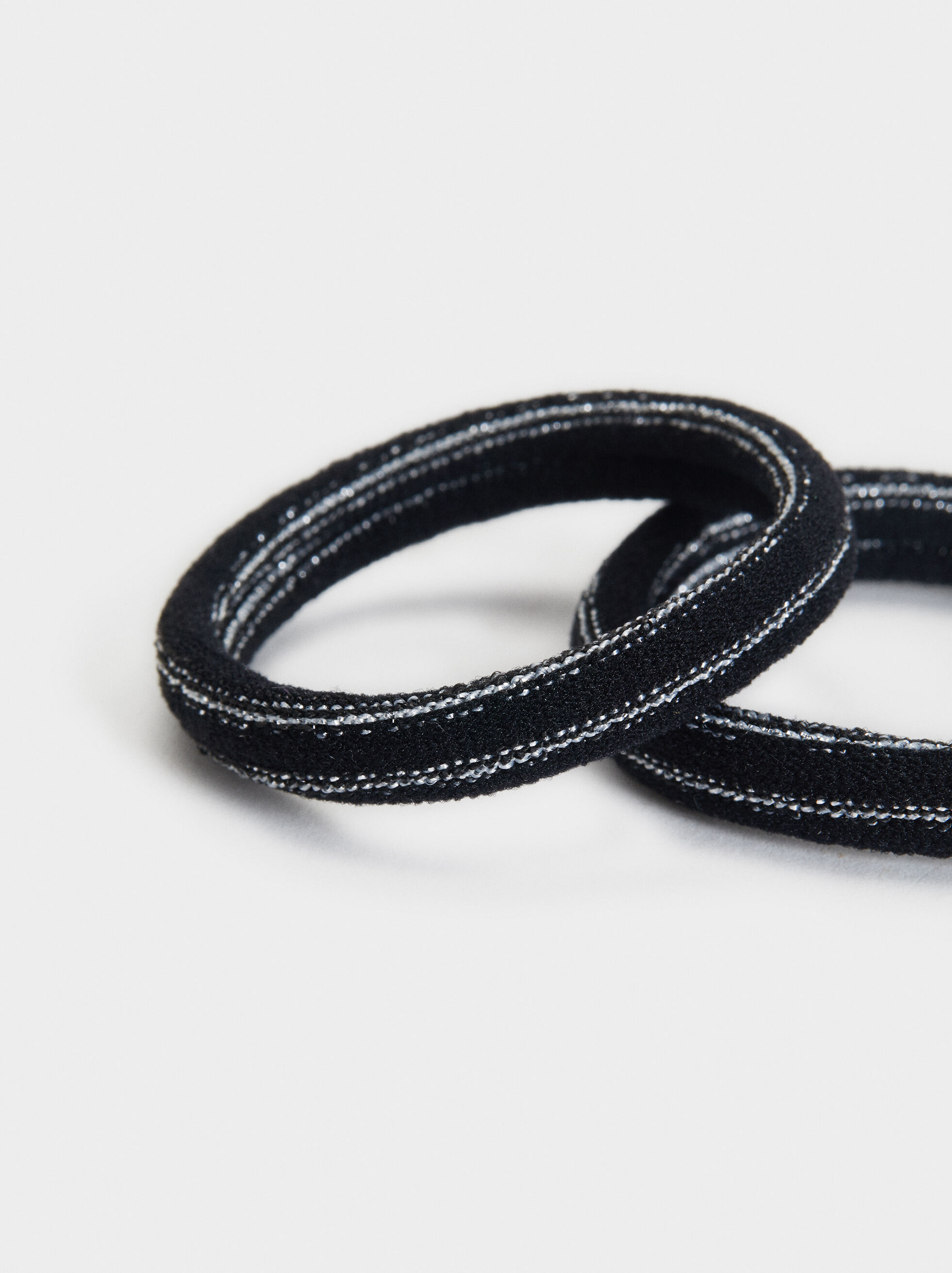 Set Of Hair Elastics With Metallic Thread, Black, hi-res