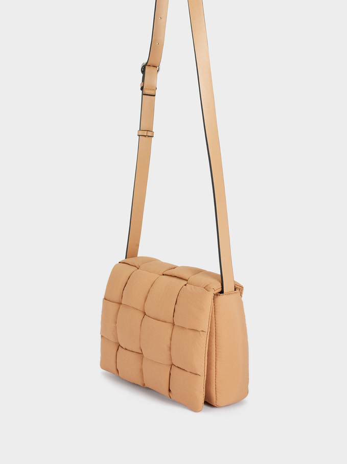 Nylon Crossbody Bag Made From Recycled Materials, Camel, hi-res