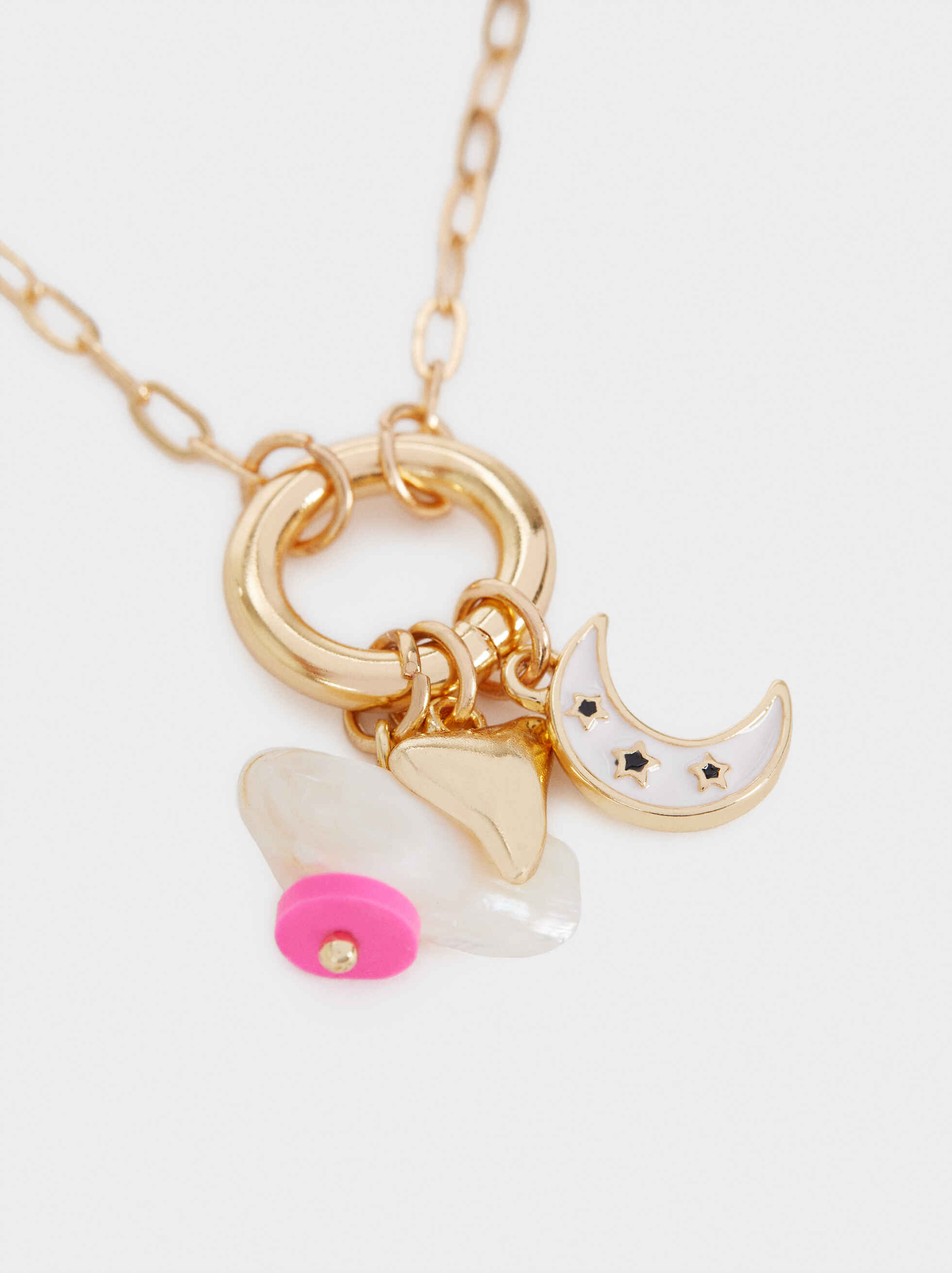 Short Faux Pearl And Charm Necklace, Golden, hi-res