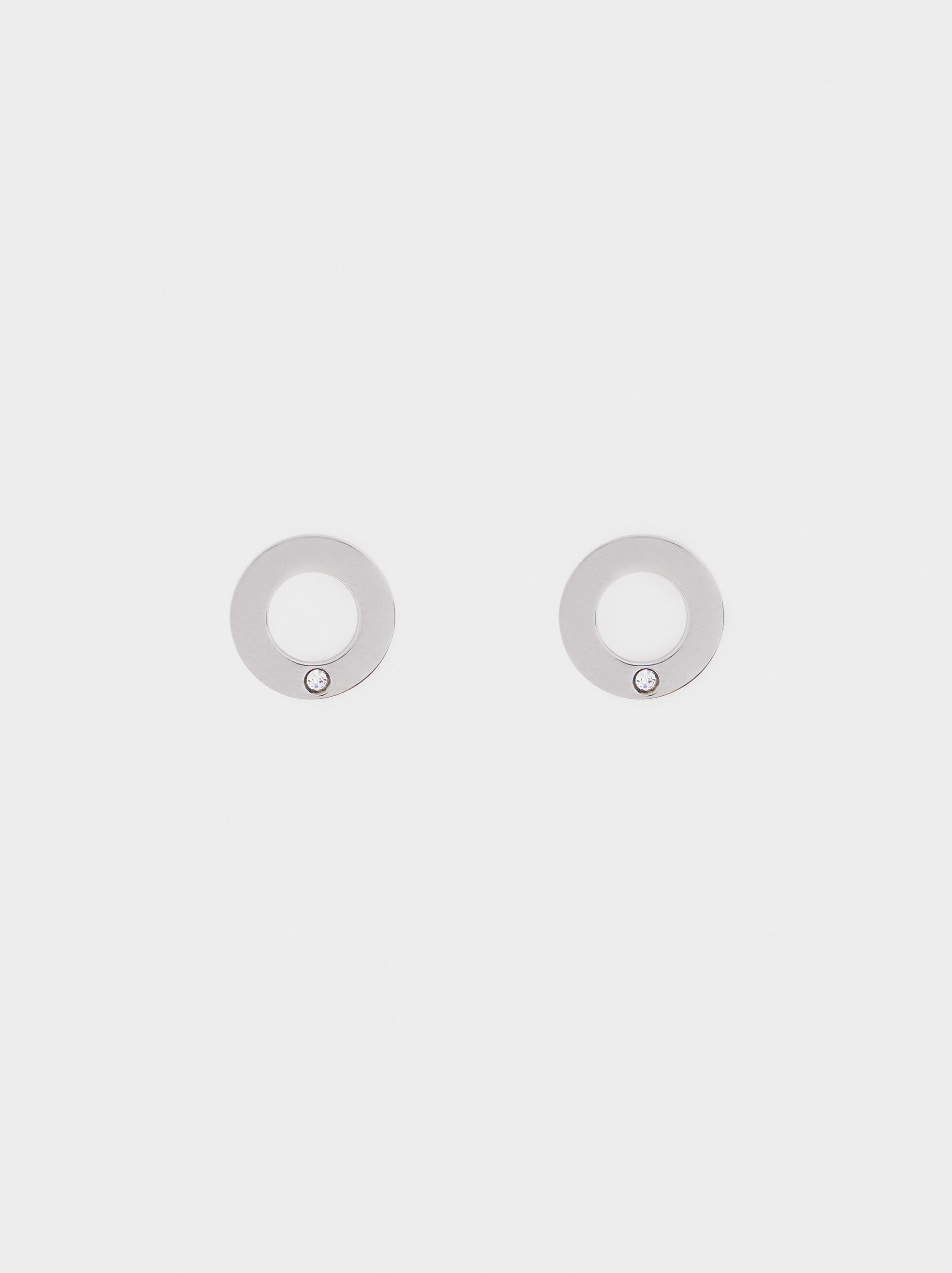 Small Silver-Plated Stainless Steel Circular Earrings, Silver, hi-res