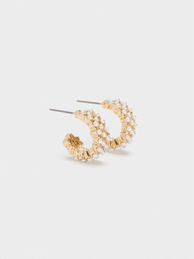 Aros Cortos Con Perlas Dorados, Dorado, hi-res