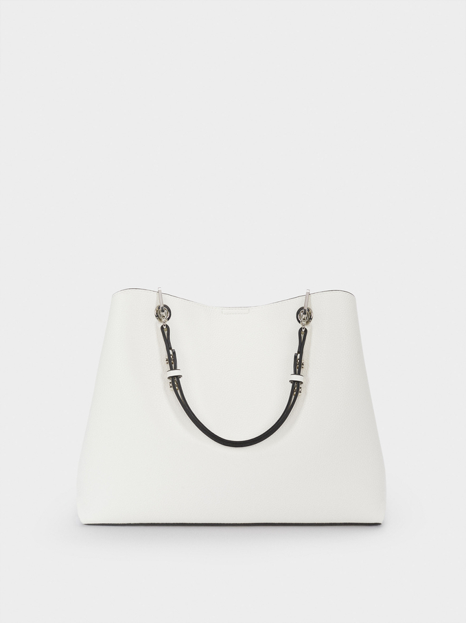 Tote Bag With Adjustable Straps, White, hi-res
