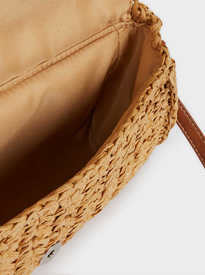 Raffia Handbag With Adjustable Crossbody Strap, Beige, hi-res