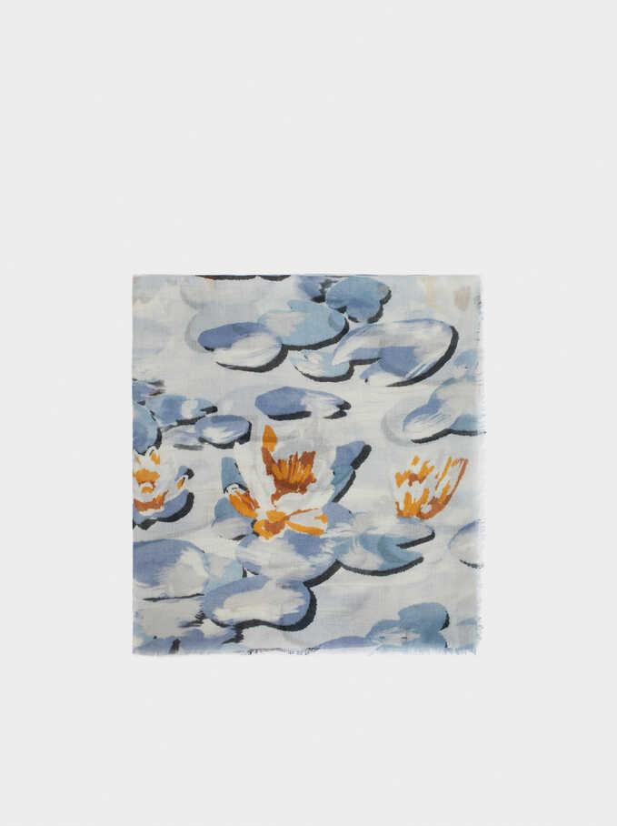 Floral Print Scarf, Blue, hi-res
