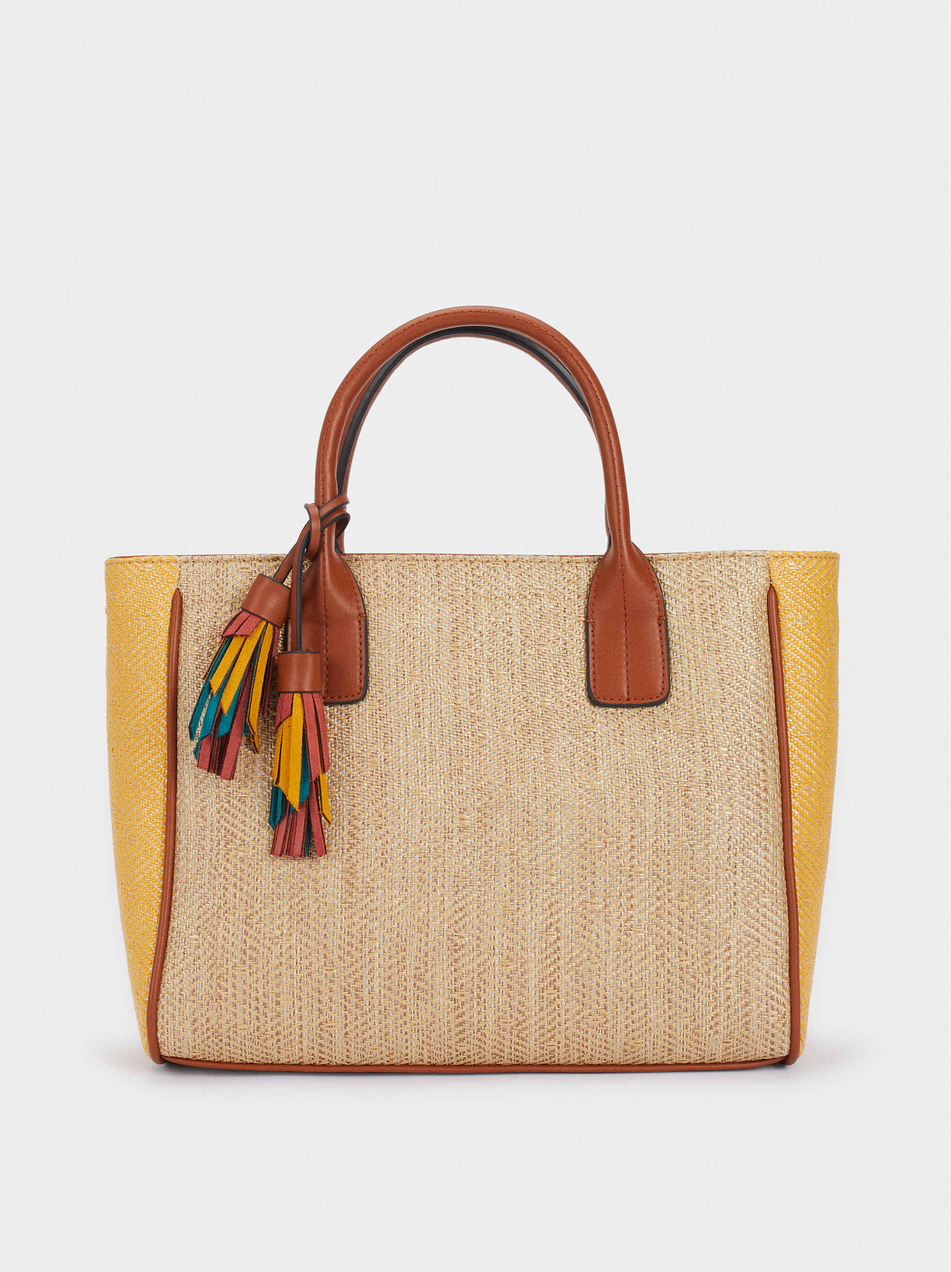Shopper Bag In A Raffia Finish, Camel, hi-res