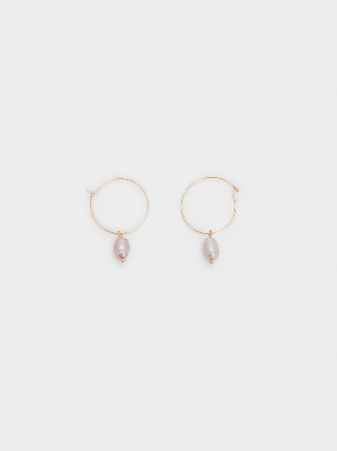 Watercolor Medium Hoop Earrings, White, hi-res