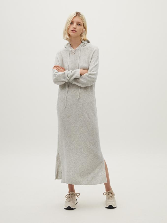 Robe Longue En Maille, Gris, hi-res