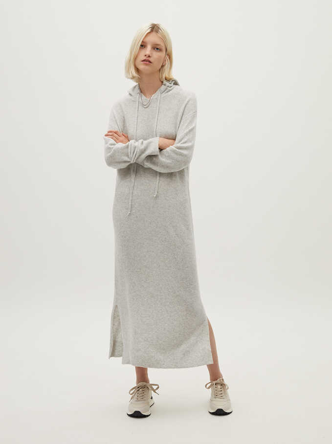 Long Knitted Dress, Grey, hi-res
