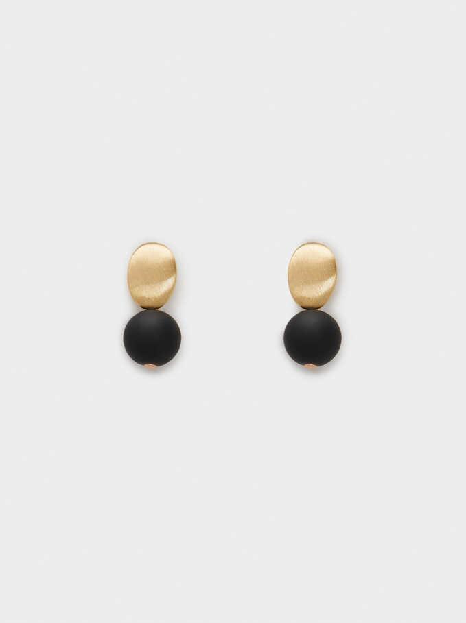 Stone Stud Earrings, Black, hi-res