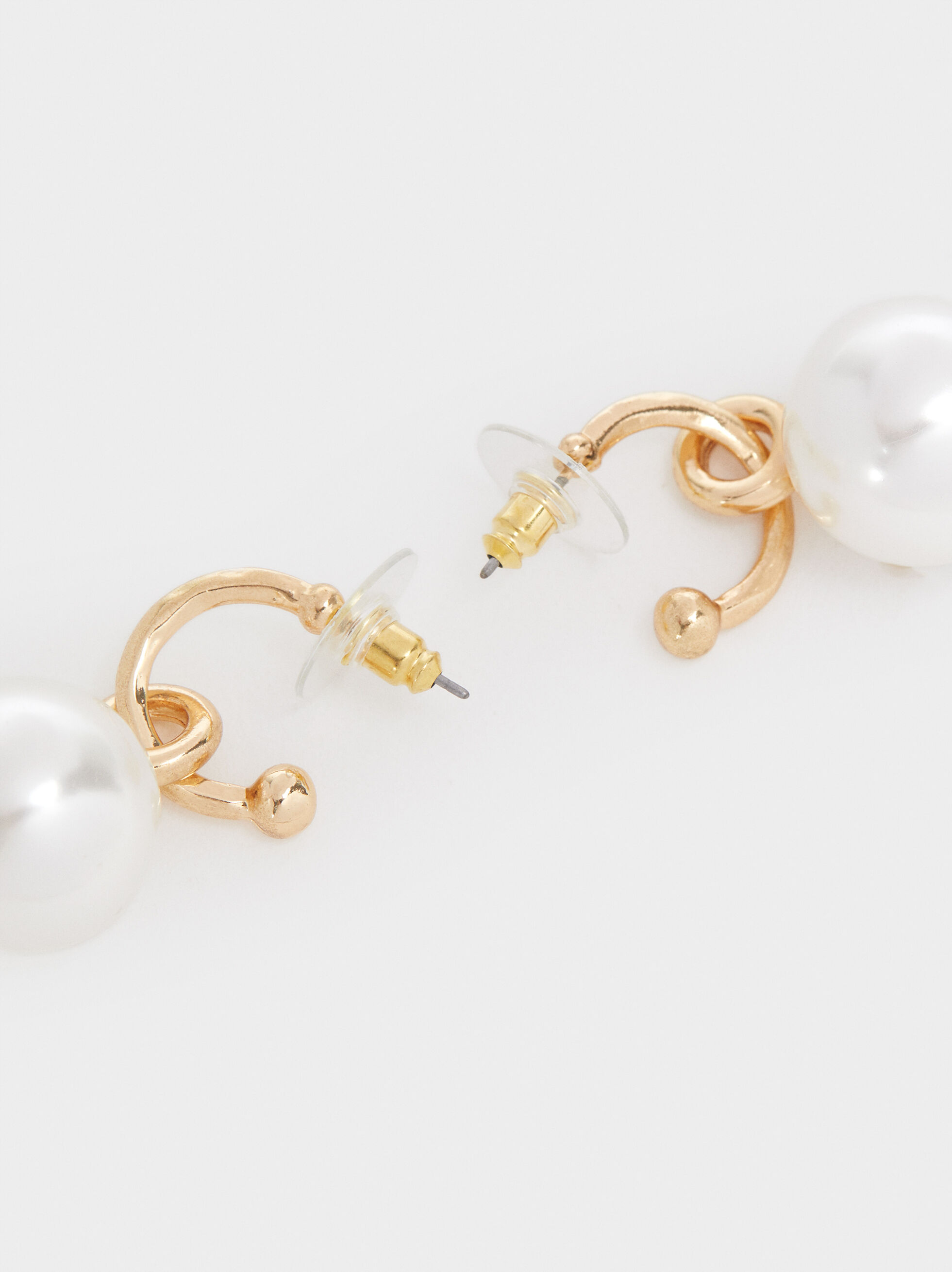 Medium Gold-Toned Hoop Earrings With Pearls, Golden, hi-res