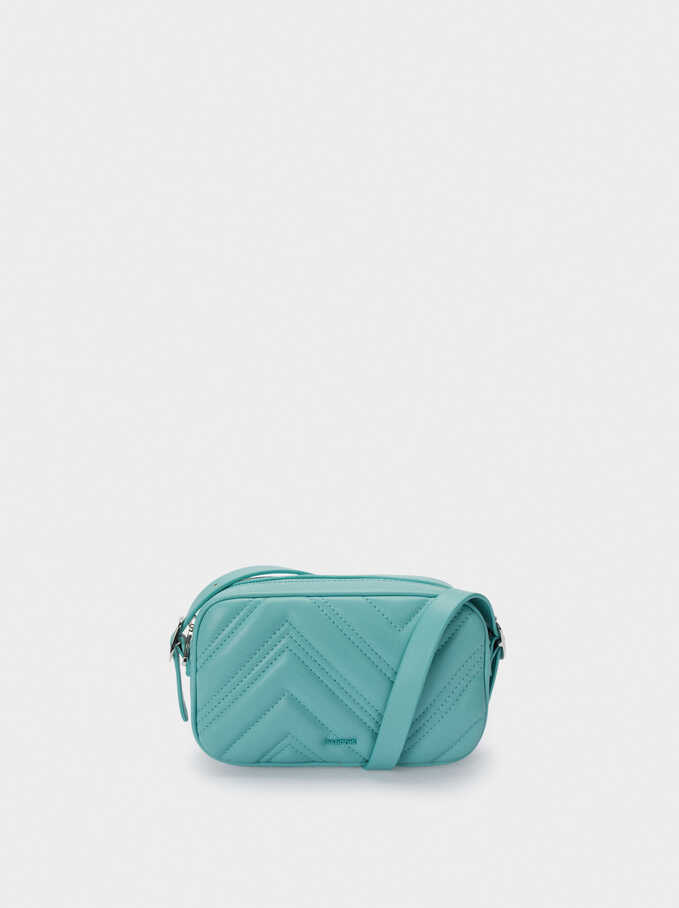 Quilted Crossbody Bag, Blue, hi-res