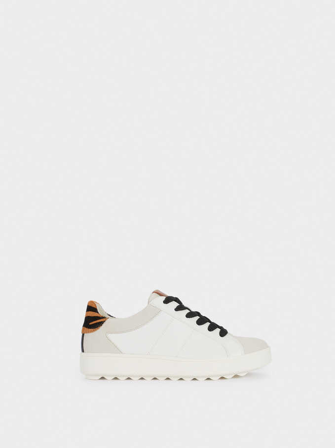Trainers With Animal Print Detail, White, hi-res