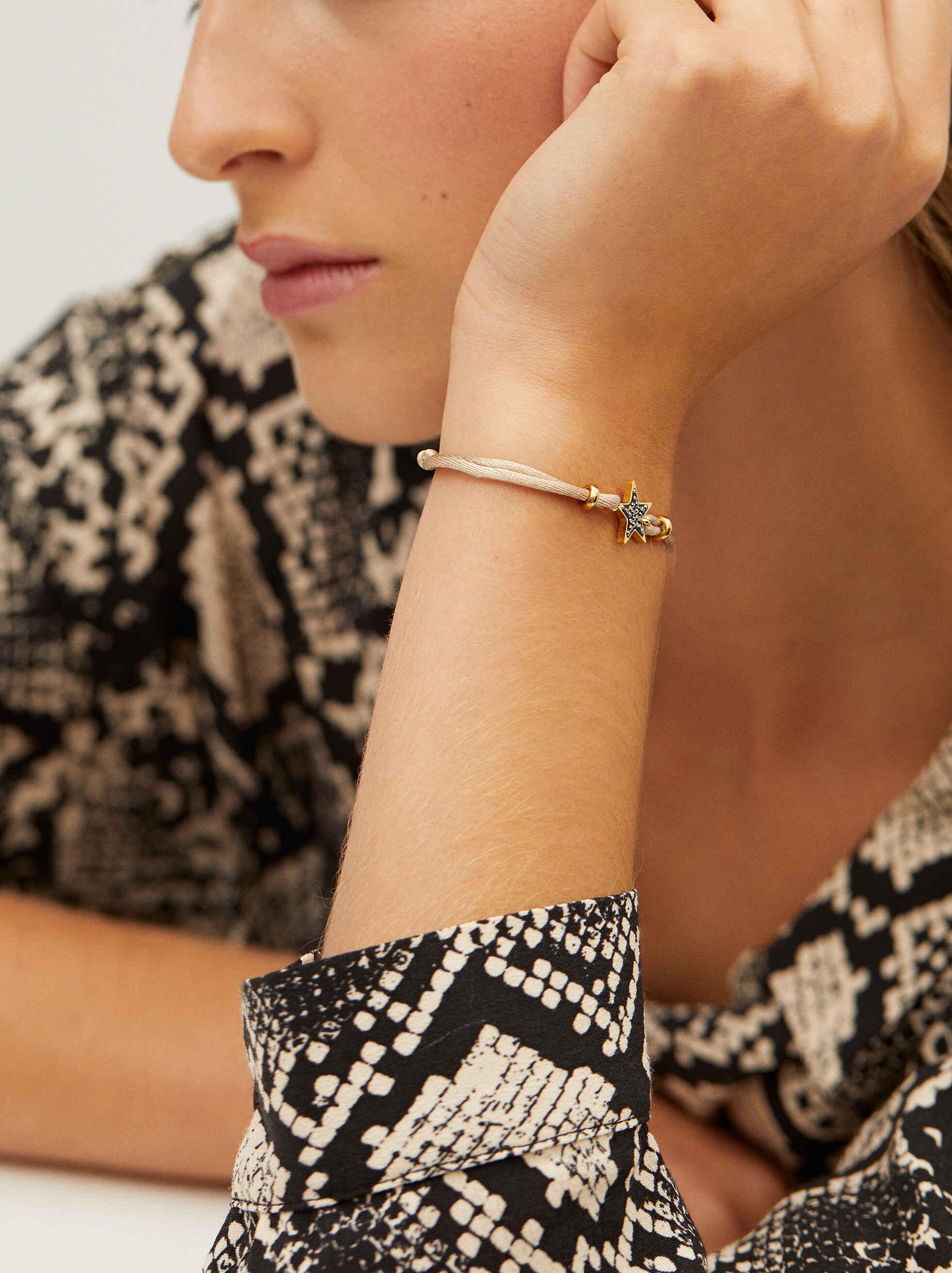 Adjustable Chain Bracelet With Star Detail, Beige, hi-res