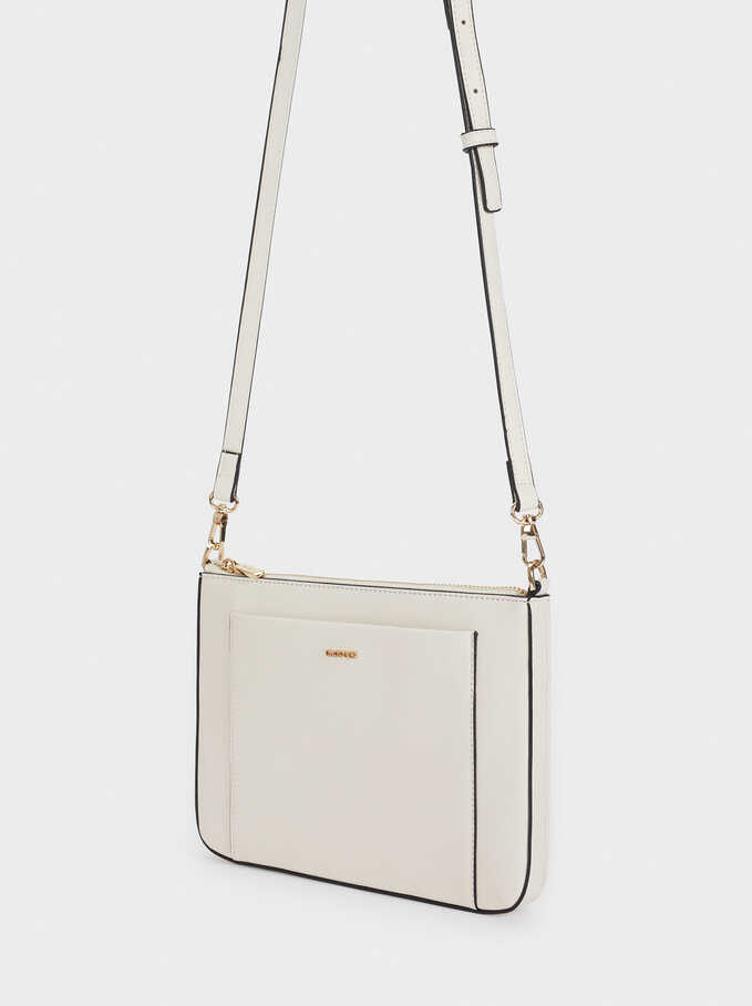 Crossbody Bag With Outer Pocket, Ecru, hi-res