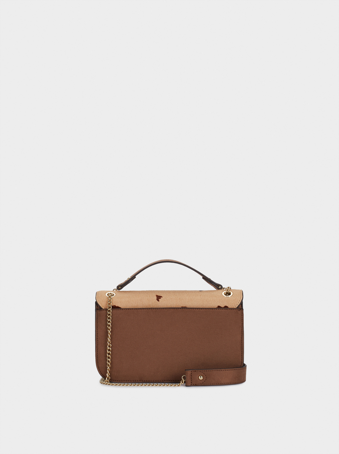 Leather Crossbody Bag, Beige, hi-res