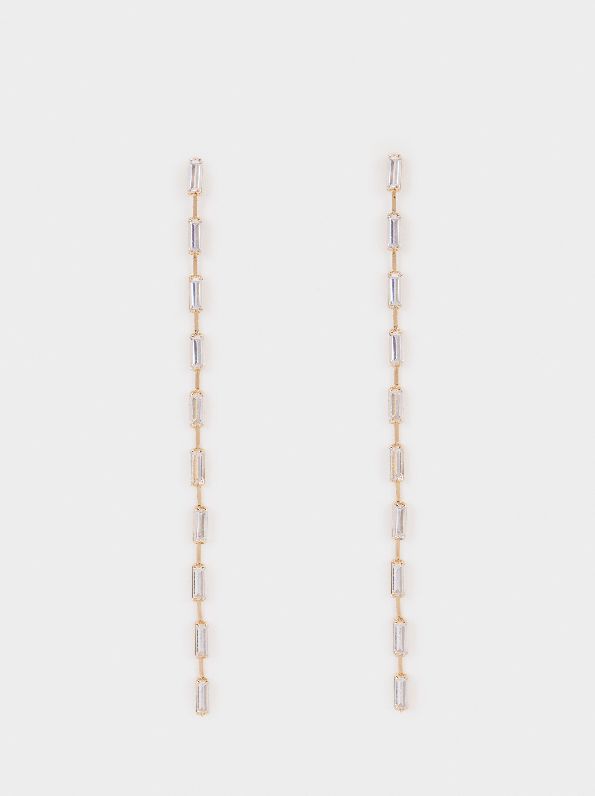 Extra Long Earrings With Crystals, Golden, hi-res