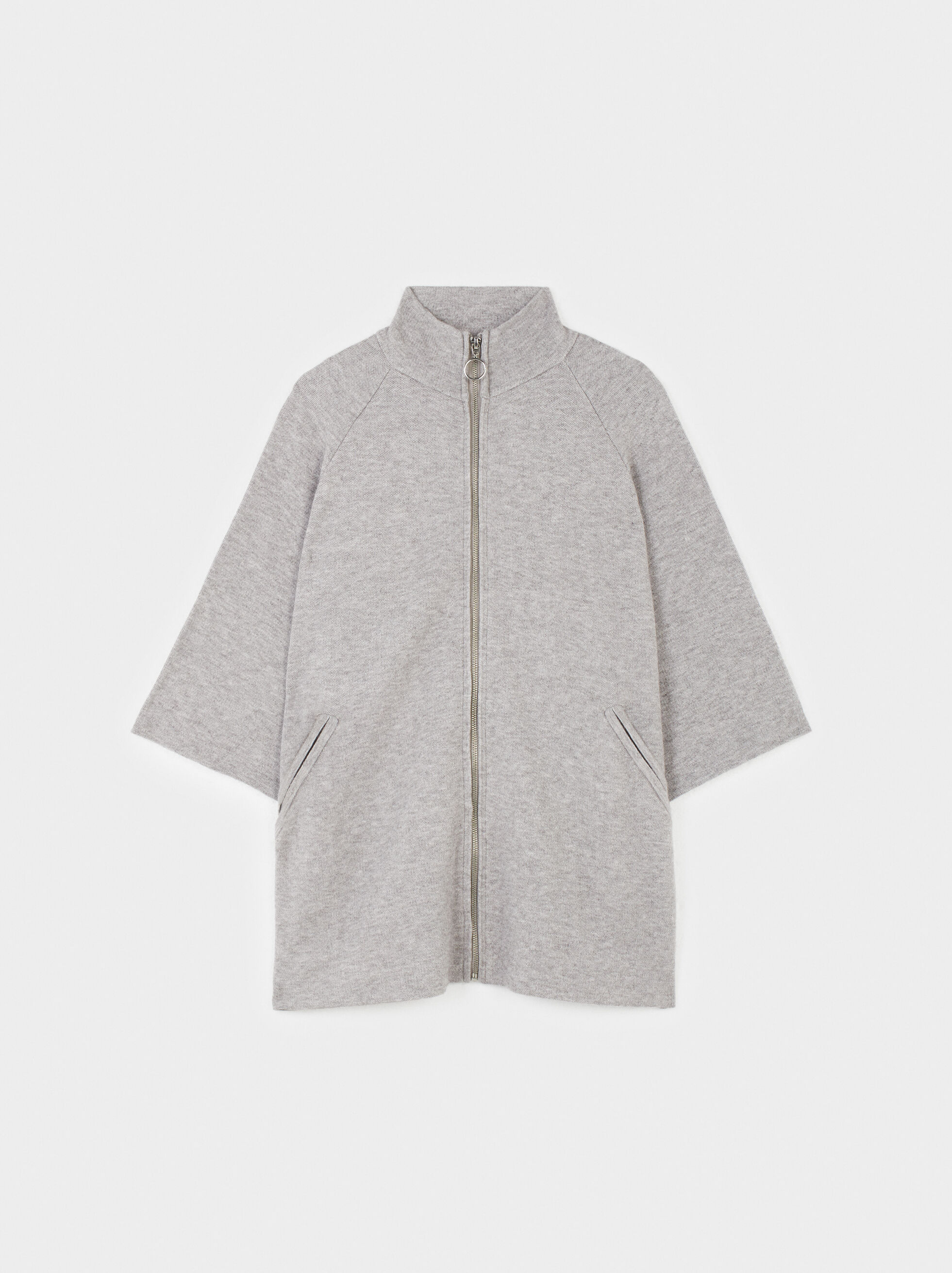 Knitted Zip-Fasten Poncho, Grey, hi-res