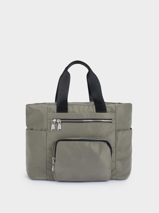 Nylon Tote Bag With Outside Pocket, Khaki, hi-res