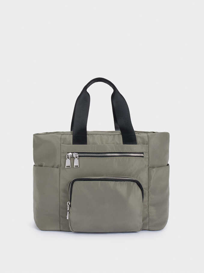 Nylon Tote Bag With Outside Pocket, Khaki, hi-res