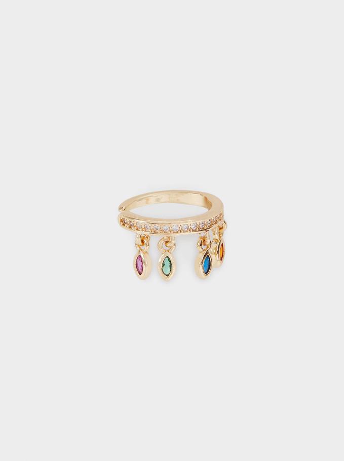 Earcuff Earrings With Cubic Zirconia, Golden, hi-res
