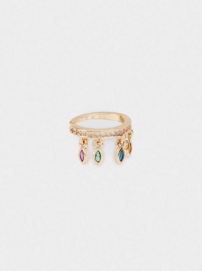 Bijoux D'Oreille En Zirconites, Doré, hi-res